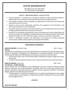 Description of professional asset management resume example for financial executive with experience managing real estate and loan porfolios