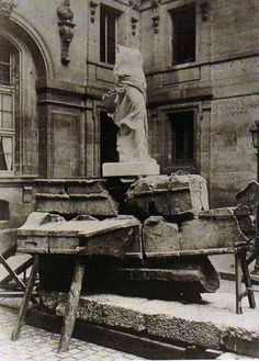 Nike of Samothrace, with blocks from ship base in process of restoration at the Louvre Museum Courtyard, c. 1880, France