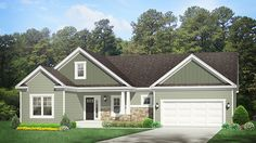 Home Plan HOMEPW77418 - 1571 Square Foot, 3 Bedroom 2 Bathroom Ranch Home with 2 Garage Bays | Homeplans.com