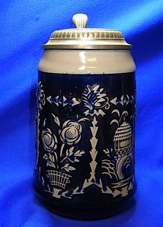 Vintage German Bearded Man Tin Top Lidded Flowers Motive Beer Stein 1L. #XX