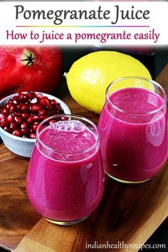 pomegranate juice recipe - Learn how to make pomegranate juice at home easily. #pomegranatejuice #pomegranate #juicing #juice #healthy