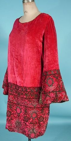 c. 1925/1926 HOUSE OF BABANI, 98 bd Haussmann, Paris Rose Silk Velvet Dress with Braided Metallic Embroidery and Gold Lame Lined Bell Sleeves | Antique Dress - Item for Sale