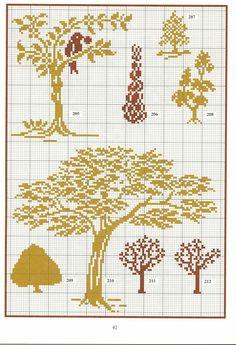 Tree patterns / chart for cross stitch, crochet, knitting, knotting, beading… Cross Stitch Tree, Modern Cross Stitch, Cross Stitch Flowers, Cross Stitch Charts, Cross Stitch Designs, Cross Stitch Patterns, Crochet Cross, Filet Crochet, Crochet Chart