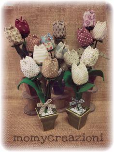 tulipani 🌷 in stoffa  vasetto in coccio smaltato  23cm