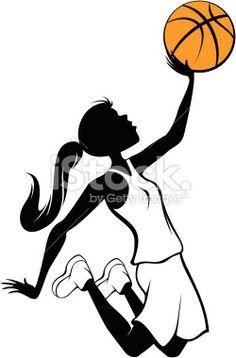 Girl Basketball Layup Royalty Free Stock Vector Art Illustration