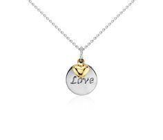 Love Disc Pendant in Sterling Silver with 14k Yellow Gold Heart  #BlueNile #MothersDay #jewelry