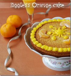 Eggless Orange Cake with step by step pictures!