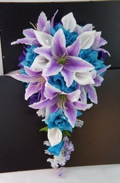 Purple Lavender Turquoise Roses with White Calla Lilies and Tiger Liliescascade Bridal Wedding Cascading Bouquet Angel Isabella http://www.amazon.com/dp/B00KGNHQKS/ref=cm_sw_r_pi_dp_w5sMtb199K9AB231