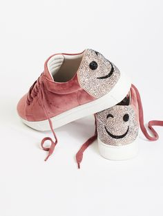 Wink Wink Embellished Sneaker | Luxe velvet sneakers featuring a glam detail on the heel with a cheeky winky face.    * Classic lace-up design   * Comfortable footbed for all day wear