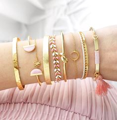 Combos Bracelets Or, Rose, Blanc - DEMI LUNE, COCONUT, EMPIRE, JUNO DUO ROSE, NOEUD, GIGI et POMPON ✨ Bijoux Merci Majolie