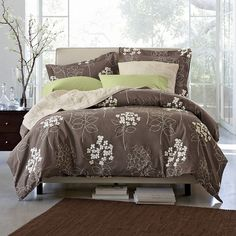 Looking for a new bedroom set to match my big green wall and brown furniture. Modern, eco-friendly, and absolutely beautiful!-this is from The Company store