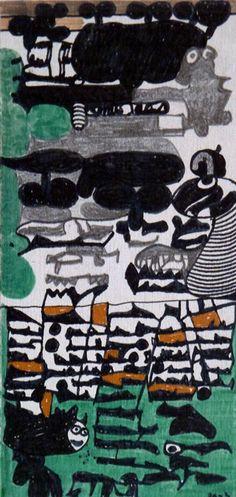 Zeichnung von Pierre Albasser auf in eine Pralinenpackung eingelegten Karton  (Rückseite)