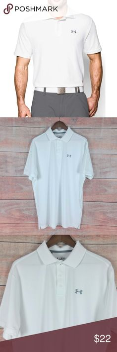"""Under Armour Heatgear Golf Shirt Polo White XL Brand: Under Armour Size: XL Color: White 95% Polyester 5% Elastane Style number 1242755.  Machine wash  Made in Jordan Features: Loose. Short sleeve polo golf shirt. Gray Under Armour logo embroidered on the left chest. Gray Under Armour spell out embroidered on the back.  Measurements (approximate) Pit to pit: 24"""" Sleeve: 10"""" Overall: 32""""  Condition: In Great Pre-Owned Condition. Looks Great. Please refer to the pictures for more condition info.  -595 inventory Under Armour Shirts"""