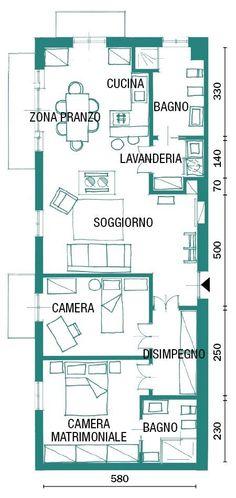Una Casa Industrial Style: 90 Mq Di Tendenza. Pianta Appartamento Stile  Industrial