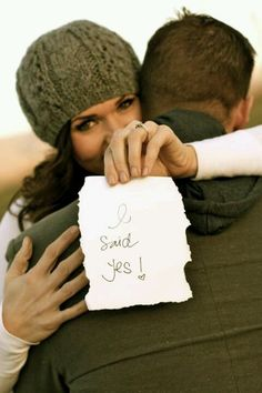 "Engagement idea...She holds ""He Asked"" and He holds ""She said Yes"" each like this pose"
