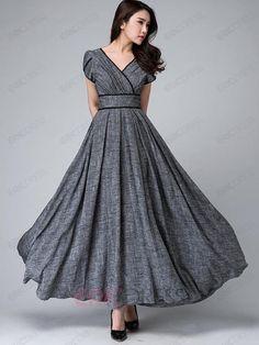 Ericdress Solid Color Patchwork Expansion V-Neck Maxi Dress 2