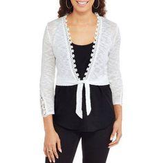 No Boundaries Juniors Textured Tie Front Cardigan, Size: Medium, White