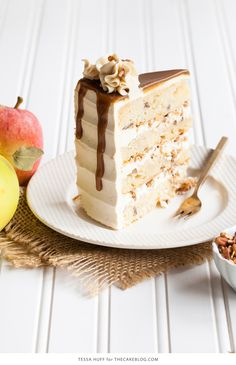 Apple Toffee Crunch Cake - fresh apple cake with crunchy pecans, cinnamon…