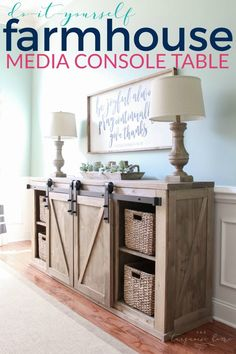 Diy Farmhouse Media Console Table - All The Plans To Make It Yourself Sliding Barn Door Weathered Stain Old Barn Milk Paint Diy Furniture Table, Diy Furniture Plans, Farmhouse Furniture, Diy Table, Furniture Projects, Furniture Makeover, Wood Furniture, Farmhouse Decor, Wood Projects