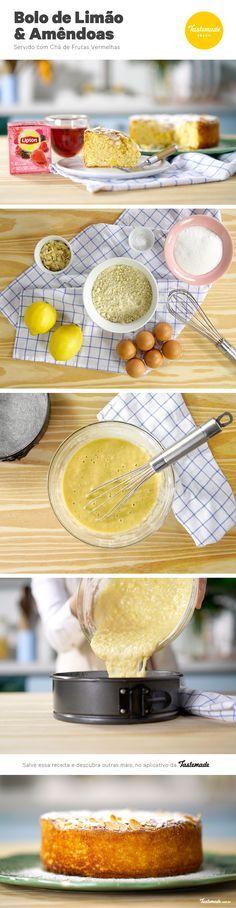 Harmonização perfeita: bolo de limão e amêndoas com um delicioso chá de frutas vermelhas. Clique aqui para ver a receita completa: https://www.tastemade.com.br/videos/lipton-bolo-de-limao