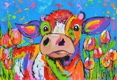 Dit is een: Acrylverf op doek, titel: 'Koe in tulpenveld' kunstwerk vervaardigd door: Liz