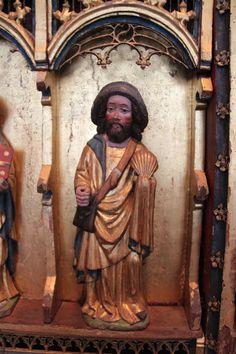 Santiago-ST. James  Museo Nacional Copenhagen Medieval, Saint Jacques, Pilgrimage, Middle Ages, Statues, Baskets, Traveling, Stamp, Antiques