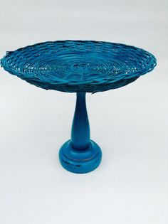 Wicker Pedestal Plate Serving Teal Blue Green Upcycled by 4onemore
