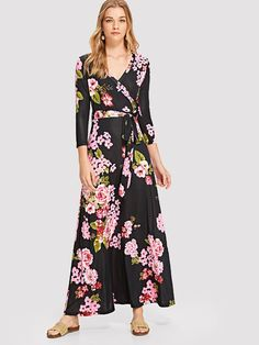 ee08b4d4a1788 SHEIN offers Flower Print Wrap Dress   more to fit your fashionable needs.