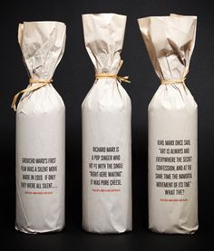 Packaging design Bag Wine Bottles - We have created of great wine packaging design where the theme is Paper wrapped wine bottles, get you inspiration from these 10 great examples Cool Packaging, Bottle Packaging, Brand Packaging, Packaging Design, Packaging Ideas, Branding Design, Organic Packaging, Logo Design, Identity Branding
