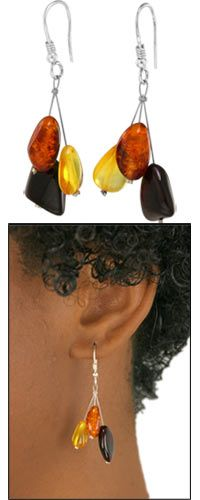 Sterling Silver & Amber Medley Earrings at The Hunger Site. $18.95.  Rarefied droplets rich in autumnal colors provide a natural counterpoint, enticing you to bask in the falling-leaf glory season to season. Amber's ability to hold static energy has contributed to its magical reputation for attracting good fortune, healing, and luck.