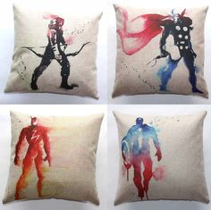 45x45cm Cushion Cover Home Sofa Cushions Linen Cotton Pillow Case Color Graffiti Captain America The Flash Thor Hero Pattern -in Cushion from Home & Garden on Aliexpress.com | Alibaba Group