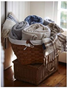 Basket of blankets.