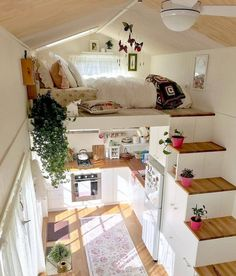 tiny house decor, tiny house design, tiny house interior, modern living room, living room decor We like spacious and airy interiors but the truth is a large house poses high demands in terms of costs and general maintenance Tiny Loft, Tiny Tiny, Tiny House With Loft, Small House Diy, Tiny House Closet, Tiny Little Houses, Tiny House Bedroom, Small Houses, Best Tiny House
