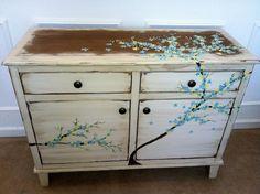 Teal, Blue, Yellow cherry blossom inspired dresser redo