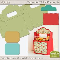 Make your gifts an extra special treat with a cute, customized gift box digital cutting file. This box is designed like a mini soda bottle carrier and includes different decorative panels to help with embellishing your creation.
