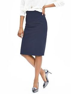 Navy Lightweight Wool Pencil Skirt | Banana Republic