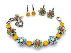 Swarovski crystal bracelet SUMMER BLOSSOMS Daisy by SiggyJewelry