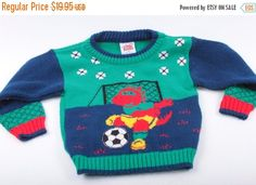 Vintage Baby Clothes Sweater Dinosaur Soccer Knit Little Funky Made in USA 18 Mo.  The Pink Room  161231 by ThePinkRoom