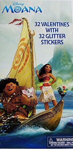 Disney Moana 32 Valentines Cards with 32 Glitter Stickers * Be sure to check out this awesome product.