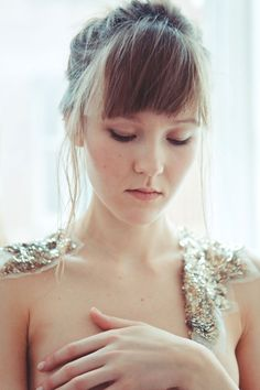 LA TETE DANS LES ETOILES COLLAR by Flimsymoon.Named after the French expression 'the head in the stars' (the equivalent to the English 'away with the fairies'). The La Tete Dans Les Etoilles collars playfully complete the collection. Photo by India Hobson Model Hannah Shkandrij https://www.kickstarter.com/projects/1371914547/flimsymoon-lingerie #lfw #londonfashionweek #kickstarter #flimsymoon #lingerie #handmade #1920s #sequins #collar