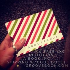 Free photo book!  Use code DUCE1 at groovebook.com for 100 4x6 photos in a cute book.  Includes free shipping! No expiration date!