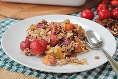 Cherry and peach fruit crumble! Well we're here to tell you why crumbles are so incredibly awesome! Quick and easy to make and you can use whatever seasonal fruit you have at hand. Healthy Sweet Treats, Get Healthy, Healthy Snacks, Healthy Recipes, Happy Pear Recipes, Fruit Crumble, Peach Fruit, Fruit In Season, Kitchen Ideas