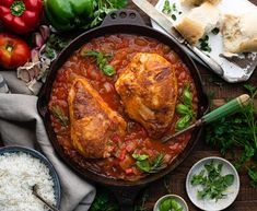 """""""Italian Hunter's Chicken, also known as Chicken Cacciatore, includes tender, juicy chicken in a tomato-based sauce with onion, bell pepper, garlic and fresh herbs. It's a rustic, flavorful, farmhouse favorite! Serve the easy dinner with rice, pasta, or a loaf of crusty bread for a cozy, family-friendly meal. This simple dish is ready from start to finish in about one hour. Set it to simmer on the stovetop and you'll have a cozy, satisfying dinner that the whole family will enjoy.&"""