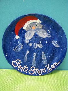Santa Handprint Plate by The Pottery Stop Gallery! Christmas Crafts For Kids, Winter Christmas, Kids Christmas, Holiday Crafts, Holiday Fun, Christmas Gifts, Preschool Christmas, Holiday Ideas, Festive