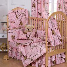 Realtree AP Pink 6 Pc Cribset - Realtree AP Pink Crib Set - Camo Baby Bedding - Baby & Kids