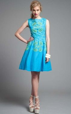 Blue Dress (with green!)   Tracy Reese Cerulean/Jasmine Green Hourglass Frock