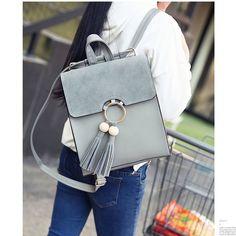 Fashion Pure Color PU Tassel Bag Circular Ring School Backpack #backpack #school #cartoon #cute #bag #rucksack
