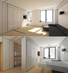So cool! A 400 sq. ft. NYC apartment comparmentalized and transformed! Check out the video!