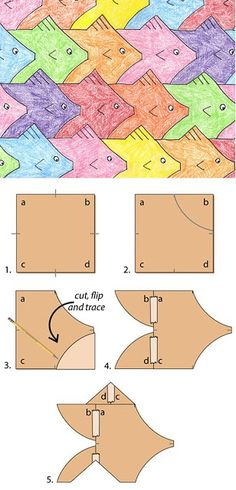 """A tessellation is a collection of shapes that fill a paper with no overlaps and no gaps. I like the math and artistic skills they require, and am happy to say that this design is my very own. 1. Start with a card stock square, at least 3"""" wide. Label..."""