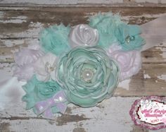 Maternity sash, belly band, pregnancy photo prop, maternity photo prop, bridal sash, mint green, white, baby boy, gender reveal